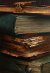 "Old Books #2,              oil/canvas,16"" x 24"""