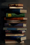 "Old Books #1,              oil/canvas,14"" x20"""